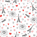 Travel France seamless pattern. Love Paris city wallpaper. Royalty Free Stock Photography