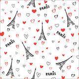 Travel France seamless pattern. Paris city vacation wallpaper. F Stock Image