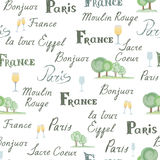 Travel France tile background. Paris city seamless pattern. Handwritten lettering, nature design elements, trees, wine glasses. French cuisine cafe decoration royalty free illustration