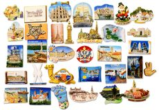 Travel fridge magnet collection Royalty Free Stock Image