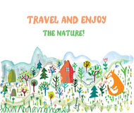 Travel funny card with landscape and animals Stock Photography