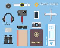 Travel gadget and documents on blue background. For travel concept Stock Image