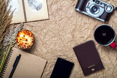 Travel and gadget vacation with camera, mobile, passport on brow Stock Images