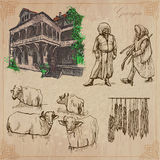 Travel: Georgia - An hand drawn vector pack Stock Image
