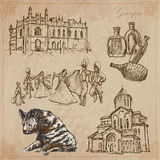 Travel: Georgia - An hand drawn vector pack Stock Images