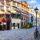 - charming traditional streets of old town in Nuremberg, Bavaria royalty free stock images