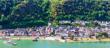 Travel in Germany - romantic cruises over Rhine river, Sankt Goa Royalty Free Stock Photo