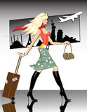 Travel Girl. Stylish blond tourist girl on travel at the airport vector illustration