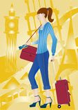 Travel girl. Young girl in a comfortable denim dress with luggage and a ticket in their hands against the backdrop of sights of different countries Royalty Free Stock Images