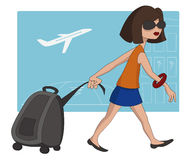Travel girl at the airport royalty free illustration