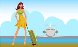 Travel girl background Stock Photos