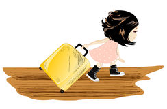 Travel girl with baggage Stock Photos