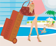 Travel girl with baggage Stock Images