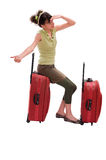 Travel girl hitchhike. Young teenager with huge luggage hitchhike Royalty Free Stock Photos