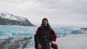 Travel girl is inspired by glacier stock video
