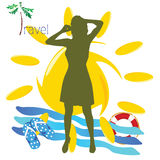 Travel girl with mobil phone vector illustration Stock Image