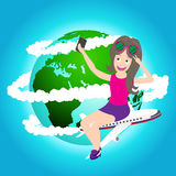 Travel girl sitting on airplane and taking selfie with cell phone, Elements of earth map Furnished by NASA Stock Image