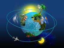 Travel globe. Globe with the continents and trees on a blue background with swirling air around it. Concept of traveling around the world Vector Illustration