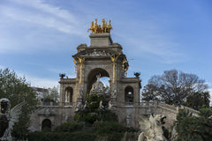 Travel, Golden horses and gargoyles in the Citadel Park in Barce Stock Image