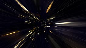 Travel Through A Golden Vortex In Light Speed. Traveling Fast In A Wormhole Through Space And Time stock video footage