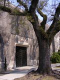 Travel-Graveyards-New Orleans-Masoleum Entrance. Travel-New Orleans-Graveyards-Masoleum Entrance on Canal Street Stock Photos