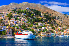 Travel in Greece - ferry boat in Symi island, Dodecanesse Stock Photography