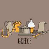 Travel Greek Culture Landmarks and cultural features flat icons design set. Royalty Free Stock Images