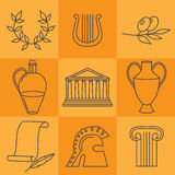 Travel Greek Culture Landmarks and cultural features flat icons design set. Royalty Free Stock Photo