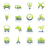 Travel green icons. Royalty Free Stock Image