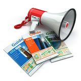 Travel guide books  and megaphone on white isolated background. Royalty Free Stock Photography