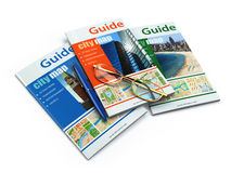 Travel guide books on white isolated background. Royalty Free Stock Photography