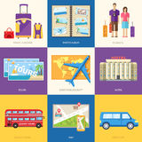 Travel guide infographic with vacation tour locations and items. Tourism with fast travel of the world on a flat design Royalty Free Stock Image