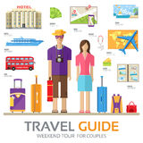 Travel guide infographic with vacation tour locations and items. Tourism with fast travel of the world on a flat design Stock Photography