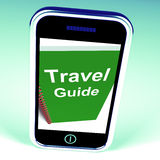 Travel Guide Phone Represents Advice on Traveling Stock Photography