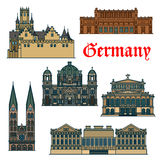 Travel guide thin line icon of german attractions Royalty Free Stock Image