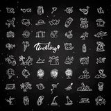 Travel hand draw chalk icons. Icon lined cartoon collection about adventure, outdoor activities, beach, summer Royalty Free Stock Photo