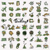 Travel hand draw icons. Icon lined cartoon collection about adventure, outdoor activities, beach, summer, travelling. Travel hand draw icons. Icon lined cartoon Stock Photography