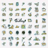 Travel hand draw icons. Icon lined cartoon collection about adventure, outdoor activities, beach, summer, travelling. Travel hand draw icons. Icon lined cartoon Royalty Free Stock Images