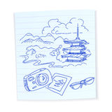 Travel hand drawn on paper, Eastern sketches Royalty Free Stock Photo