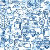 Travel hand drawn seamless pattern Royalty Free Stock Photo