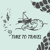 Travel hand drawn sketch for design. Adventure Travel. Stock Image