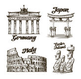 Travel. Hand drawn sketch Germany, Japan, Italy, Easter island Stock Photo