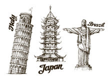 Travel. Hand drawn sketch Italy, Japan, Brazil. Vector illustration Stock Photo