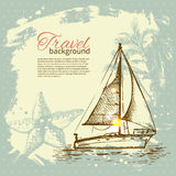 Travel hand drawn vintage tropical design Stock Images