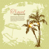 Travel hand drawn vintage tropical design Stock Photos