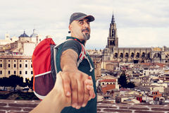 Travel hand by hand Royalty Free Stock Images