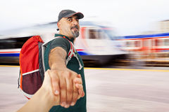 Travel hand by hand Stock Photos