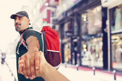 Travel hand by hand Royalty Free Stock Photos