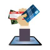 travel hand hold credit card ticket money dollar Stock Photos