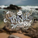 Travel hand lettering and doodles elements Royalty Free Stock Image